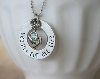 "Vegan Jewelry , vegan necklace Raw Vegan 80 10 10 Hand Stamped Pewter Washer Necklace, ""Vegan, For All Life"" with 2 charms"
