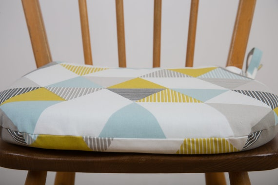 Seat Pad Blue And Yellow Chair Cushion Zipped Cover Garden Etsy
