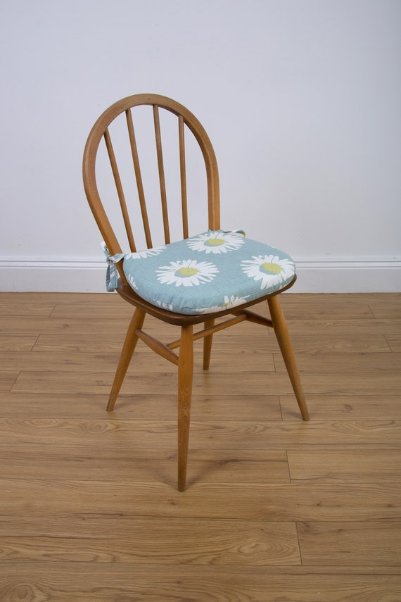 Daisy seat pad, chair cushion, zipped cover, garden chair pad, dining room,  kitchen chairs, d-shaped cushion.