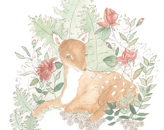 Forest Fawn Watercolor Print / Illustration /Giclee /Nursery /Children's Art