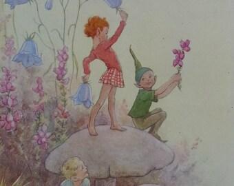 Margaret Tarrant Vintage Broom Fairy Print Fairies Mounted | Etsy