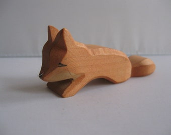 Original OSTHEIMER wooden figure / wood animal (marked). Wooden toy. Ostheimer fox small, creeping. OLD model with branding. VINTAGE