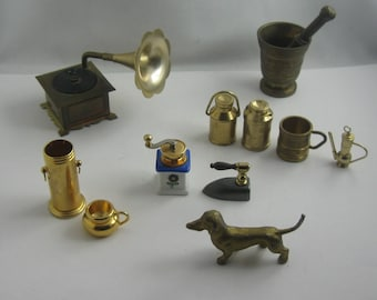 Old toys. Mixe bundle MINIATURES made of metal for dollhouse or seed box. VINTAGE