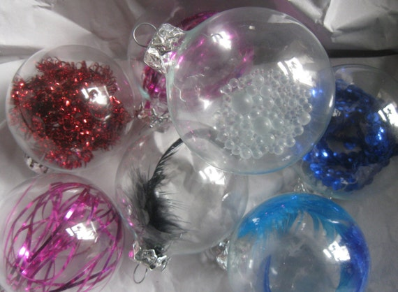 Christmas Tinsel Transparent.80s Christmas Ornaments Xmas Tree Baubles 7 Transparent Baubles With Inner Life Sequins Tinsel Feathers And Glass Beads Vintage