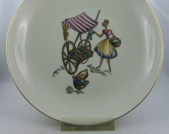Furstenberg porcelain. 1950s. Small deep plate / pastry shell with market scene. Approx. 18 cm. Collectible. Vintage