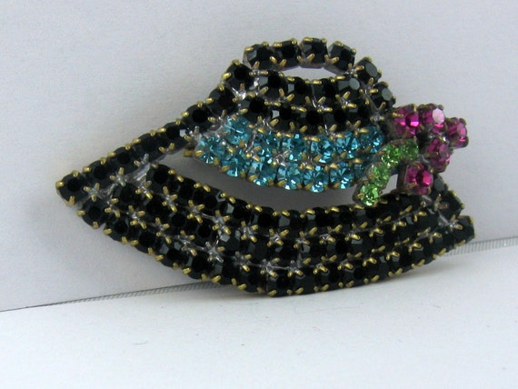 "Ladies hat ""Tyrolean hat"" black, turquoise ribbon… - image 1"