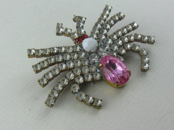 Spider (II): Beautiful rhinestone brooch. Of ancie
