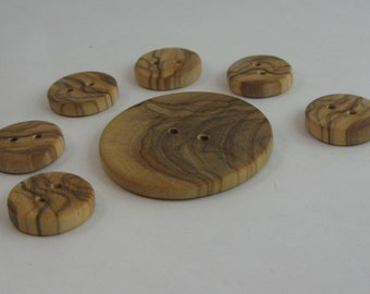 Olive tree WOOD buttons. Handmade. 6 pieces small buttons (Ø 1.7 cm) and 1 large button (Ø 4 cm) from precious olive tree wood. VINTAGE