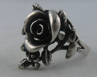 Wonderful ring ROSE in country style. Sterling silver (Ag 925). VINTAGE
