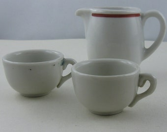Mixed lot dishes for dolls: 1 creamer (Alt-Schoenwald 391) and 2 cups of porcelain. Made in Germany. Vintage