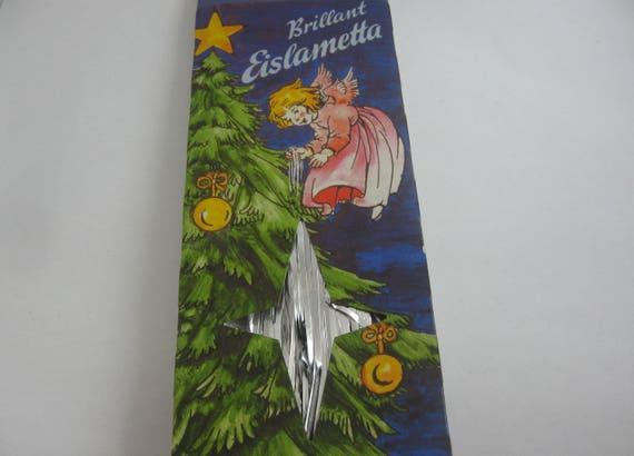 SILVER tinsel >> Brillant Eislametta <<. 30 threads brilliant ice LAMETTA. Genuine good tinsel from Germany. VINTAGE Xmas tree decoration