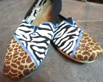 51913adca0f Animal Print Hand Painted Toms