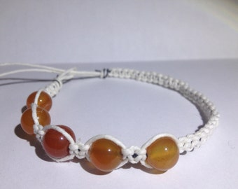 Carnelian Beaded White Hemp Bracelet