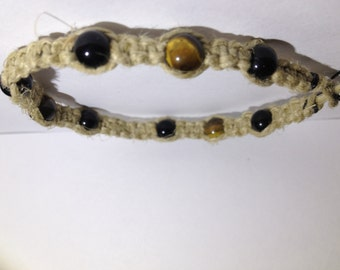 Tiger's Eye & Obsidian Hemp Bracelet