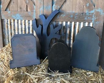 rustic halloween tombstones large medium small wooden tombstones spooky gothic halloween decor