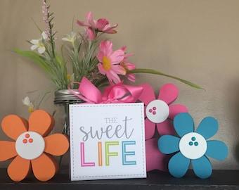 Life Is Sweet (Gray) 4x4 Wood Block
