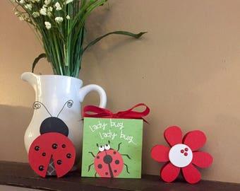 Ladybug Ladybug (White) 4x4 Wood Block