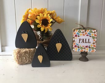 Wood Crow Trio - Fall, Autumn, Harvest, Thanksgiving, Halloween Decor, Black Crows, Rustic Decor, Wood Decor, Rustic Crows