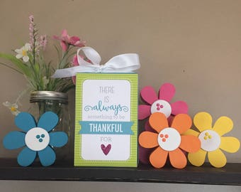 There Is Always Something To Be Thankful For (Turquoise) 4x6 Wood Block