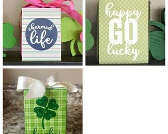 Lucky St. Patrick's Day 3x4 Wood Blocks - Charmed Life, Happy Go Lucky, Lucky Shamrock, St. Patty's Day Decor