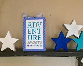 Adventure Awaits (Blue) 4x6 Wood Block