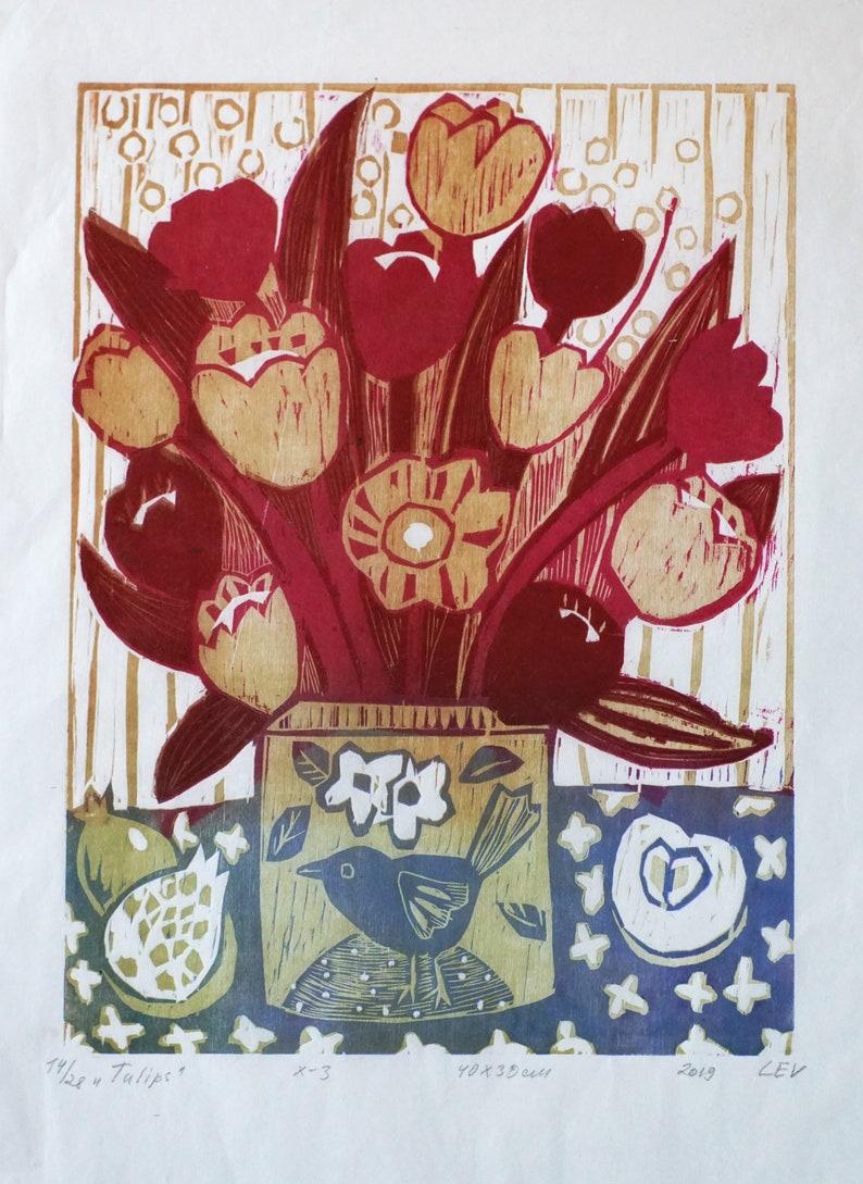 Original woodcut print  Tulips