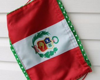 Peru flag drawstring bag