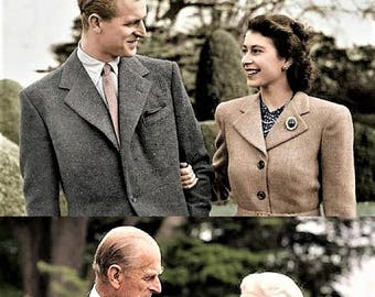 Queen Elizabeth and Prince Philip in 1947 and 2017