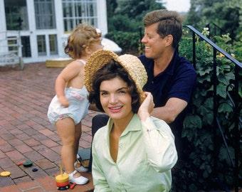 John & Jackie Kennedy with Caroline in the Backyard of Hyannisport