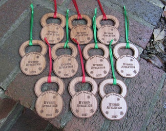 Bulk Listing Wooden Kettlebell Ornaments
