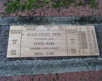 Custom Wood Concert Ticket