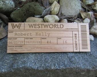 Custom Wood Westworld Ticket