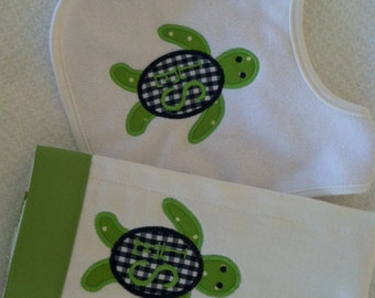 Monogrammed or Personalized Sea Turtle Applique Bib and Burp Cloth Set