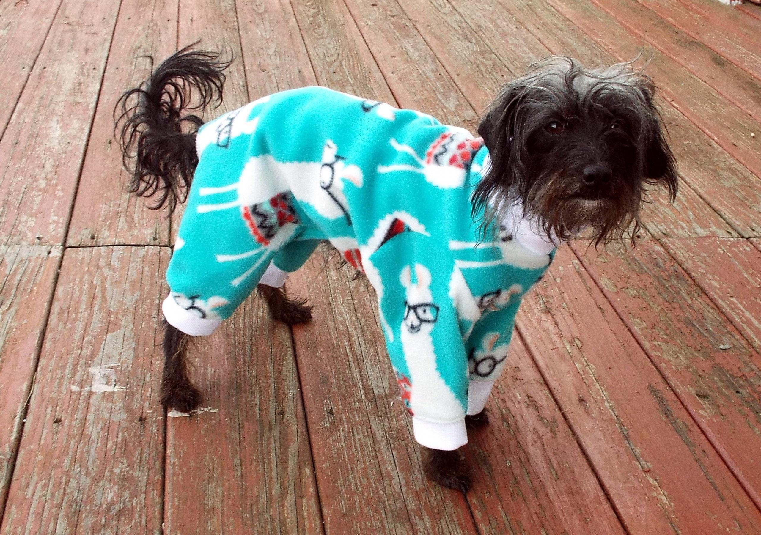 Nerdy Llama Pajamas Pet Pajamas Dog Pjs Teal Dog