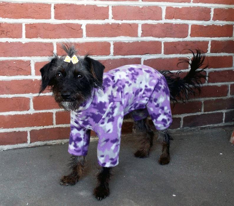 Purple Camo Pet Pajamas  Purple Pet Onesie  Purple Camo Pajamas  Dog Clothes  Purple Dog Pajamas