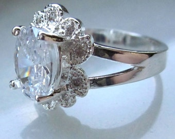 Sterling silver ring 925 ring silver ring cz ring sz 8 sterling floral jewelry sterling ring April birth sale clearance