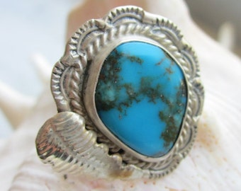 Sterling silver turquoise ring 925 turquoise ring vintage silver turquoise ring 925 silver gemstone ring size 6 clearance