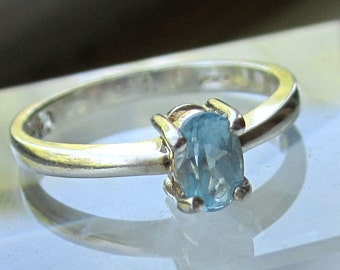 Sterling silver blue topaz ring 925 topaz ring silver blue topaz ring blue topaz ring November birthstone sz 6 3/4 sale clearance