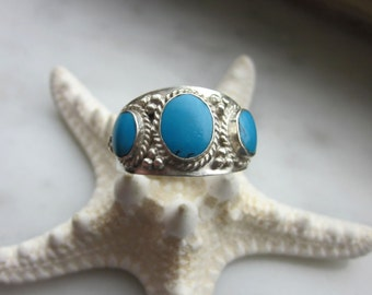 Sterling silver turquoise ring 925 turquoise ring silver turquoise ring Navajo jewelry genuine turquoise on sale clearance on rings