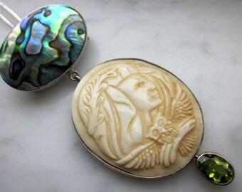 Sterling silver gemstone pendant 925 sterling peridot pendant 925 sterling pendant carved bone abalone set in sterling clearance sale