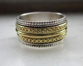 Sterling silver spinner ring 925 spinner ring silver spinner ring copper ring infinity worry ring wedding bands meditation fidget clearance