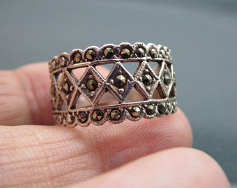 Sterling silver marcasite ring 925 marcasite ring silver marcasite ring marcasite jewelry multistone rings clearance