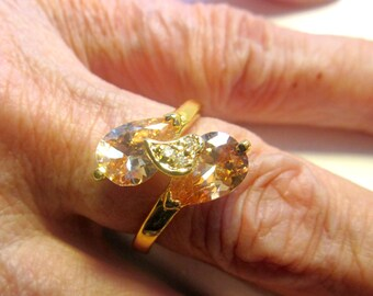 Gold morganite ring morganite jewelry crystal rings crystal jewelry size 8 1/2 morganite ring gold gemstone rings clearance