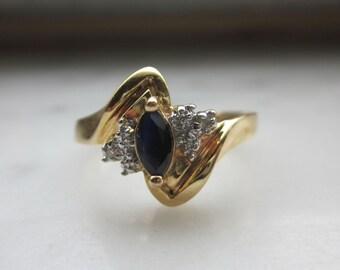 Gold sapphire ring diamond sapphire ring 14K yellow gold diamond ring sapphire engagement April birthstone September birthstone clearance