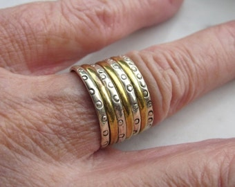 Sterling silver stacked ring 925 silver hammered ring copper ring 925 silver wedding rings 925 bands wedding band clearance