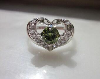 Sterling silver peridot ring 925 peridot ring silver plated peridot ring August birth sz 7 peridot sterling peridot ring clearance