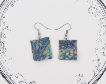 One of a Kind Colorful Earrings Made From Recycled Art
