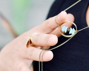 Shiprock long green necklace.