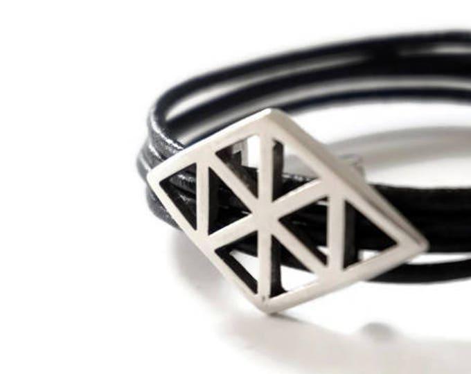 Lozo-metal silver-Rhombus-leather bracelet