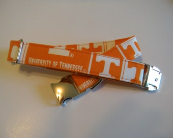 University of Tennessee Volunteers  Dog Collar with Metal Buckle - Aluminum Buckle, Puppy, Handmade, Silver Buckle